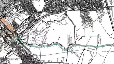 The proposed canal arm, with Daventry town centre to the left