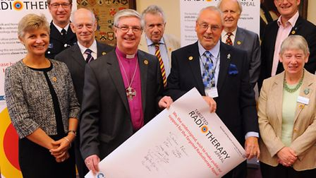 The Bishop of Norwich, Rt Rev Graham James with other backers of the Norfolk and Norwich University
