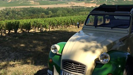 Driving a 2CV in the Burgundy vineyards
