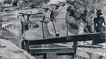 Illustration from Two Girls and a Barge shows the travellers at Watford staircase