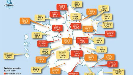 Apartment prices in France Q2 2016 © Notaires de France