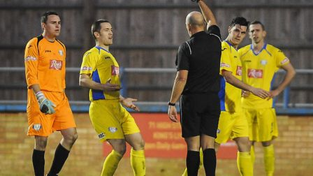 Action from King's Lynn Town v Nantwich Town at The Walks - Keeper Alex Street is sent off. Picture: