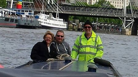 With friends in the Port of London