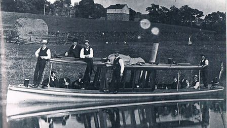 Pleasure boating: a handsome steam launch at Bank Newton in the 1890s