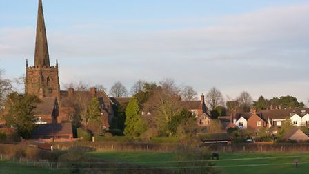 Brewood with its tall steeple