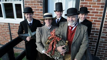 Dickensian Christmas at the Lion Salt Works - staff and volunteers dressed in Victorian costumes out