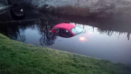 Mark Bowen's car sank quickly, but luckily didn't have any valuables inside