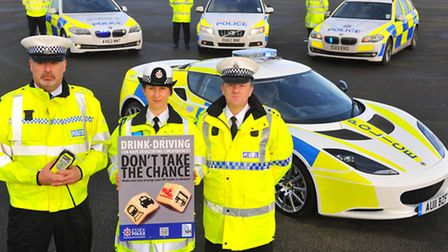 Police officers from across East Anglia uniting against drink driving at Lotus, Hethel. Inspectors l