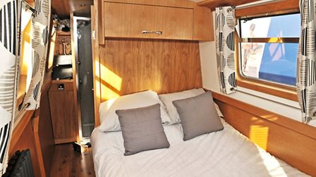 The main cabin at the bow has an in-line bed