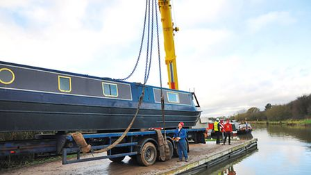 Ashbridge being placed on the water