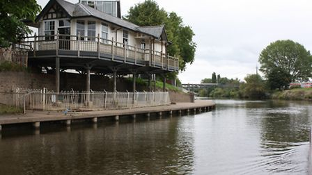 Worcester Rowing Club, on stilts to save it from floods