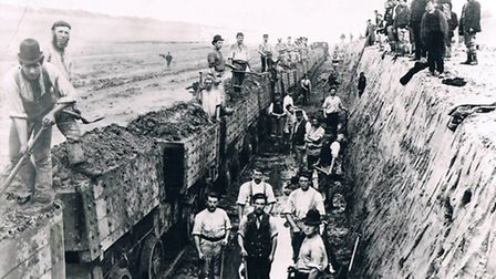 Navvies at work on the Manchester Ship Canal