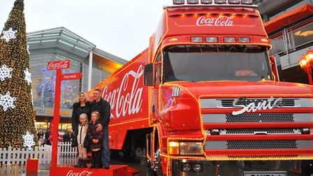The Coca-Cola lorry parked at the entrance to Chapelfield, Norwich that many shoppers stopped to pho