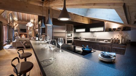 The open-plan kitchen at The Penthouse at Cristal de Jade from MGM French Properties