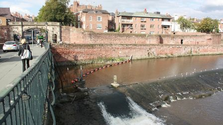 Chester weir and City Wall