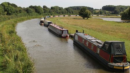Boats moored in typically quiet countryside near Gopsall