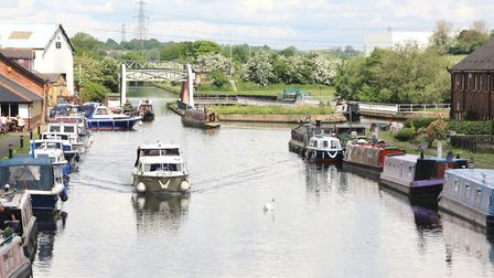 Boats crossing Stanley Ferry's old and new aqueducts