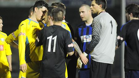 Tempers frayed at the end of the first half. Picture: Ian Burt
