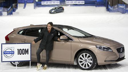 Made In Chelsea celebrity Louise Thompson at the top of the ski slope in the Volvo V40 fitted with w