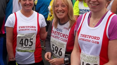 Thetford Athletic Club members (from left) Corrina Smith, Gill Paremain and Claire Goldstone take pa