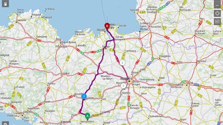 Map of routes on Michelin website