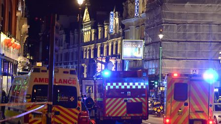 Emergency services attending the scene at the Apollo Theatre in Shaftesbury Avenue, central London,