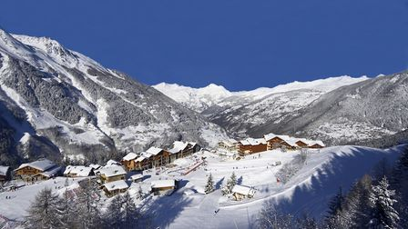 The village of Ste-Foy and the summit of the Aiguille Rouge in February P Royer