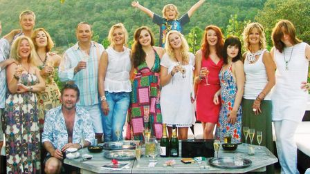 Linda Barker with her family & friends at her property, Villa de la Verne in the south of France