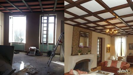 Living room of Château Monteil before and after renovation