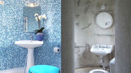 Bathroom at Château Monteil before and after renovation