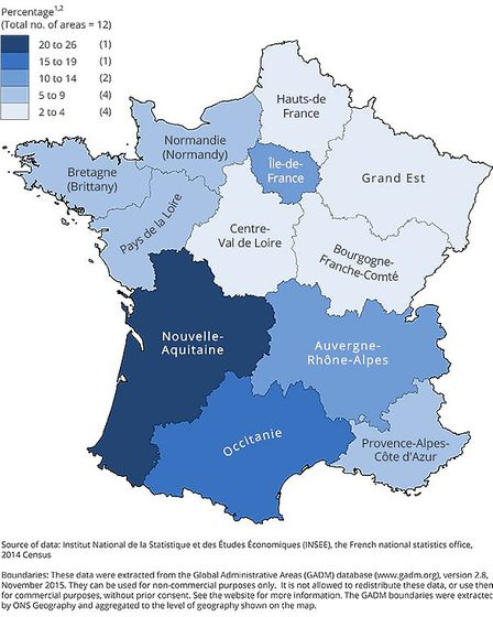 British citizens living in France by region 2014 - source ONS