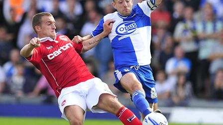 Former Norwich City midfielder Matt Gill (right) in action for Bristol Rovers, is set to have his co