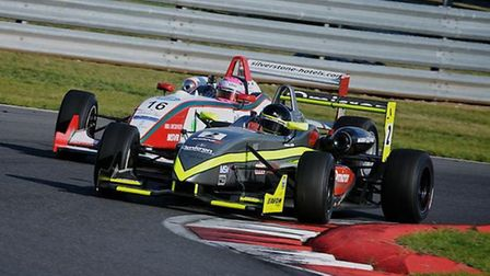 Moments before the on-track clash at Snetterton between Tristian Cliffe (Silver/Yellow car) and Alic