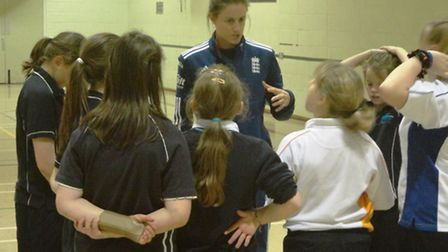 England cricket players Lydia Greenway (pictured) and Heather Knight visit Cromer Academy. Picture: