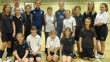 England cricket players Lydia Greenway and Heather Knight visit Cromer Academy. Picture: Cromer Acad