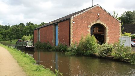 Surviving canal warehouse building in Hyde