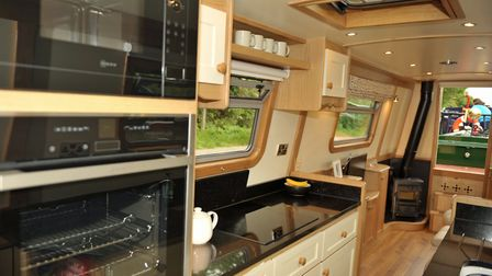 Eye-level cooking in the appealing galley