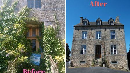 The house before and after the extensive renovations took place