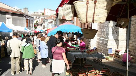 The town of Montcuq with its weekly market is nearby