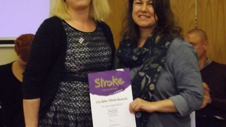 Tracey Cooper with Sara Betsworth, regional head of operations from the Stroke Association in East o