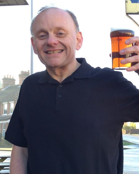 Paul Barrett, after his weight loss, enjoys a pint at the Trafford Arms