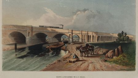 The London-Greenwich railway crosses the Grand Surrey Canal near Deptford (London Canal Museum)