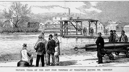 Testing a torpedo in the Royal Arsenal Canal (London Canal Museum)