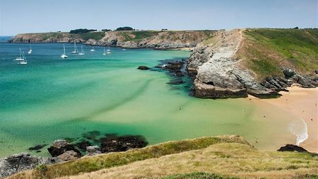 The beautiful coastline of the islands in southern Brittany