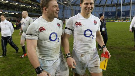 England's Tom and Ben Youngs celebrate victory over Ireland in the 2013 RBS 6 Nations match at the A
