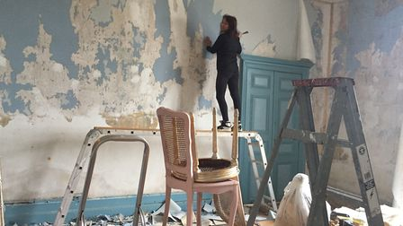 Ashley getting stuck in to some DIY at the chateau