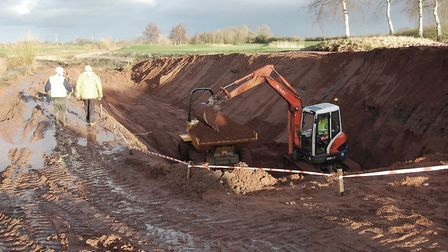 Excavation of the new canal channel by Darnford Lane (photo: Martin Ludgate)