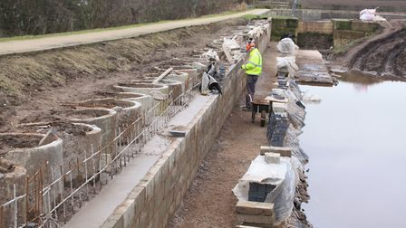 Volunteers build the new length of canal leading into Borrowcop Canal Park (photo: Martin Ludgate)
