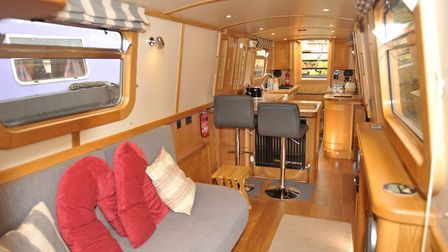 The saloon leads to the rear galley