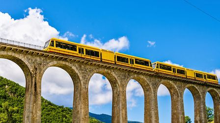 The Little Yellow Train in the Pyrénées in France ©Thinkstock